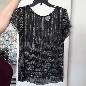 Parker Beaded Sequin Black Embellished Blouse